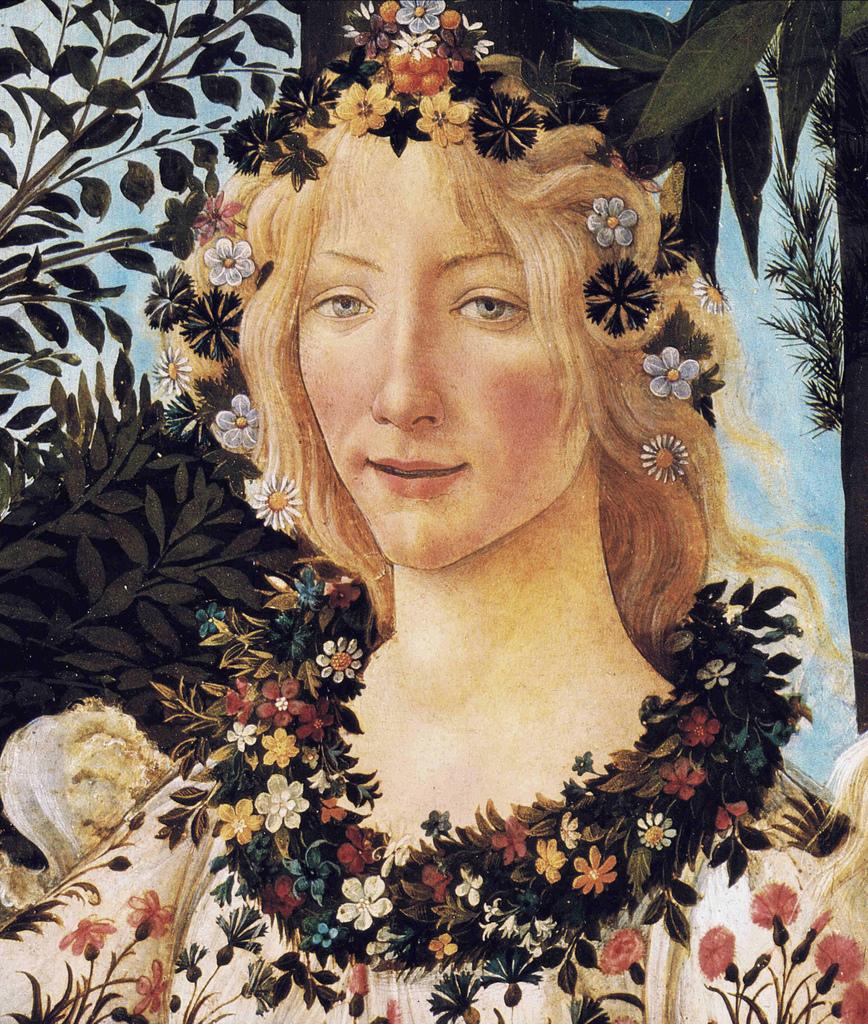 Sandro Botticelli, Primavera, c.1477-82, detail - a photo ... Botticelli Paintings