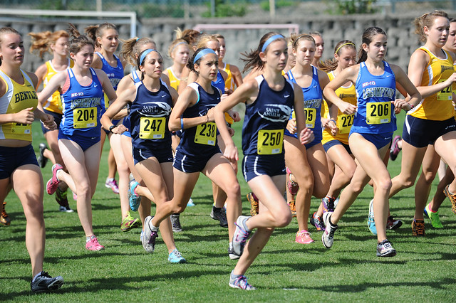 Members of the women's cross country team compete in a 2011 invitational
