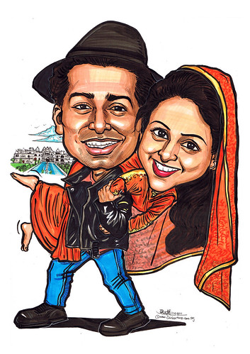 Indian wedding couple caricatures