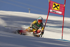 Marie-Pier Préfontaine skis in the first run of the giant slalom in Lienz Austria.