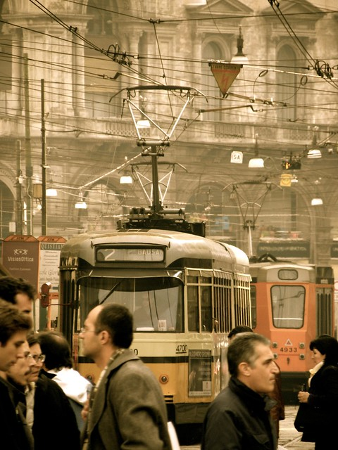 Milan Piazza Cordusio tram lines converge at hub