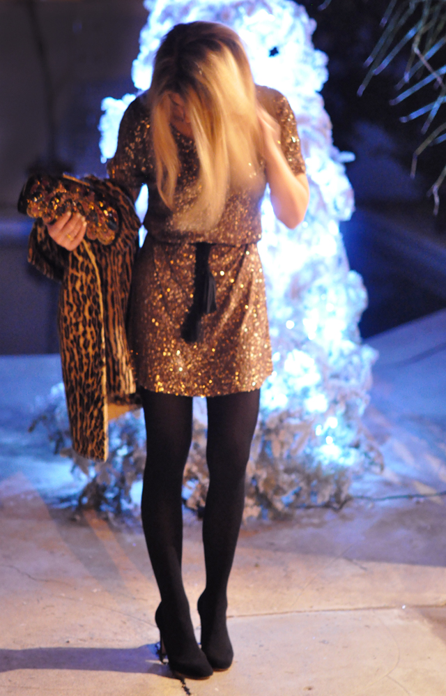 sequined dress-black tights-glowing christmas tree