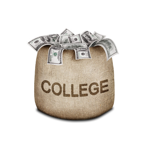 """Sack with """"college"""" written on it and money coming out of the top."""