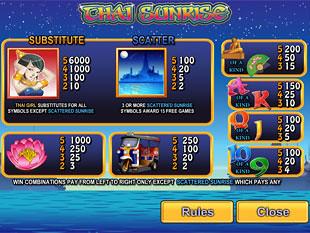 free Thai Sunrise slot payout