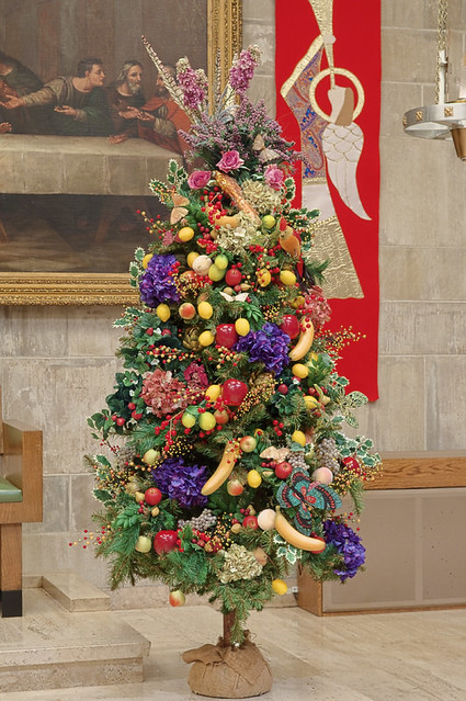 Saint Peter Cathedral, in Belleville, Illinois, USA - Christmas tree