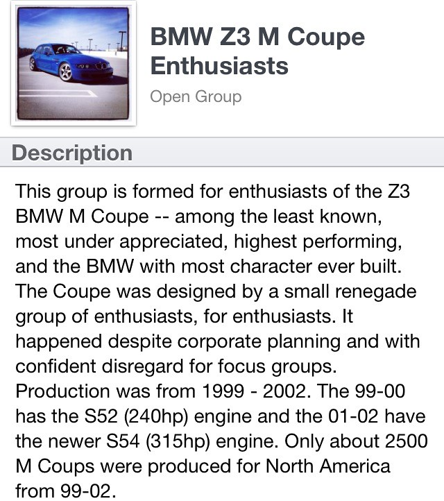 BMW Z3 M Coupe Enthusiasts Group on Facebook