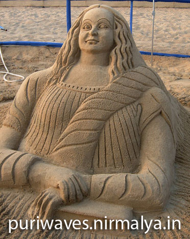 Monalisa Sand Sculpture By Ranjan Ganguly
