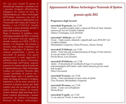 Conferenze Museo Archeologico di Spoleto