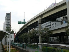 metropolitan area, vehicle, residential area, overpass, city, downtown,