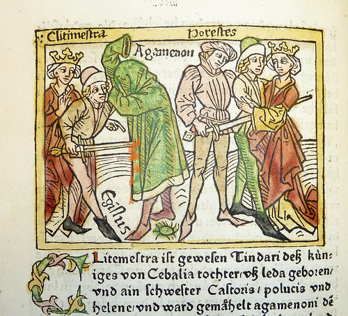 Woodcut illustration of Clytemnestra and Aegisthus murdering Agamemnon