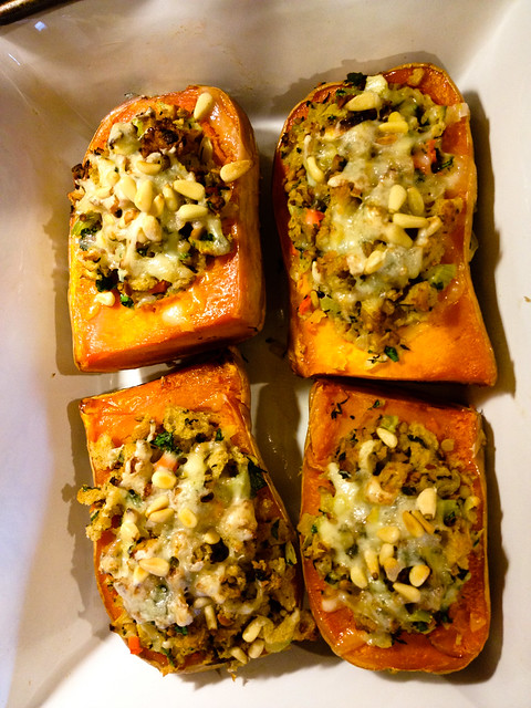 Stuffed Squash with Tempeh Sourdough Stuffing
