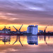 Leith docks sunset by elementalPaul