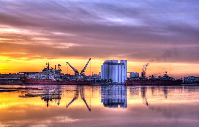 Leith docks sunset