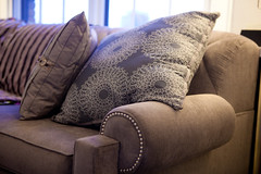 textile, furniture, brown, room, living room, couch, studio couch, cushion,