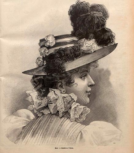 002-Sombrero Felicia-La Última moda-revista ilustrada hispano-americana, del 16 de mayo de 1897-copyright MemoriadeMadrid