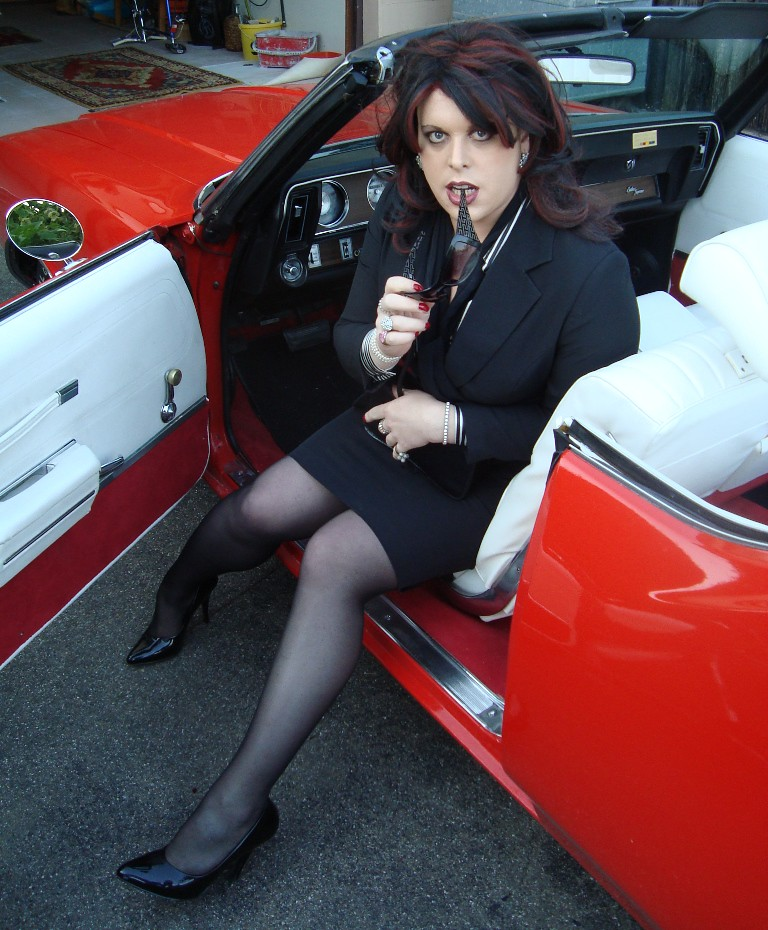 Crossdresser in car