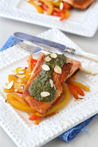 Seared-Salmon-with-Pesto-Sauteed-Peppers-&-Toasted-Almonds-Recipe-Cookin-Canuck