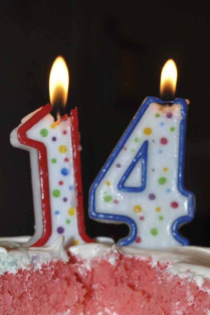 14 candles on birthday cake