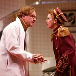 Tim Donoghue as Dr. Prentice and Susan O'Connor as Geraldine Barclay in the Huntington Theatre Company's production of