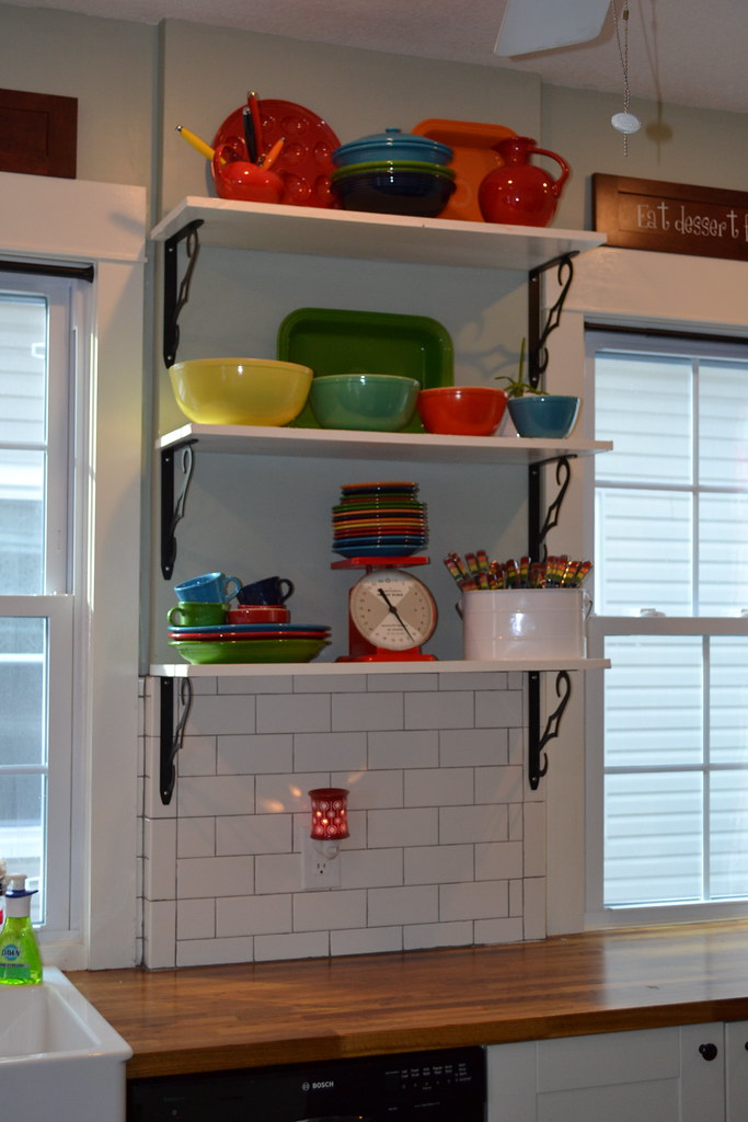 Open Kitchen Shelving With Fiestaware And Pyrex