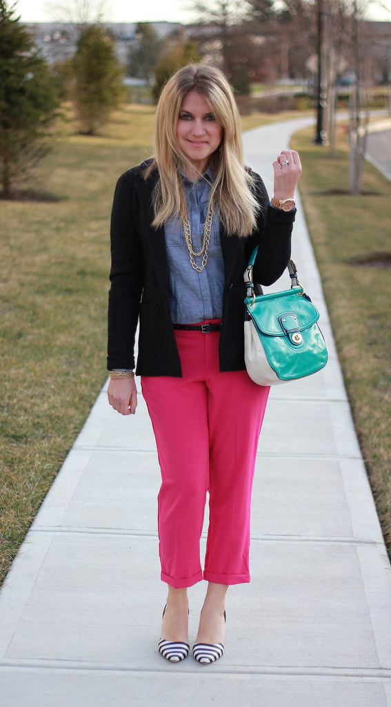 Chambray Blouse and Pink Pants for Work