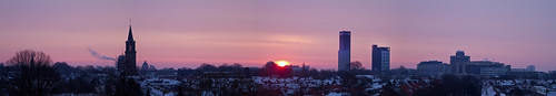 panorama sunrise friesland fryslan leeuwarden frieslandbank achmeatoren ljouwert fbto dominicuskerk zonopkomst