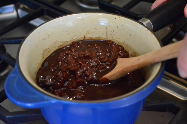 Chocolate chips added into the saucepan mixture.