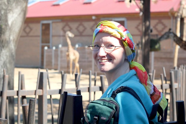 Lora and the giraffes at Houston Zoo