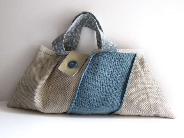 Handmade linen and wool bag