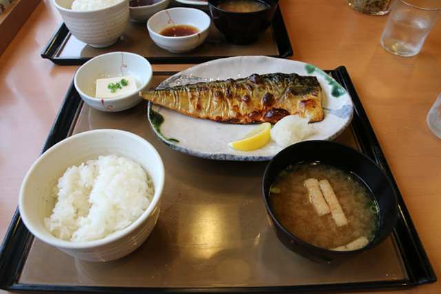 Grilled saba fish with miso soup, rice and tofu