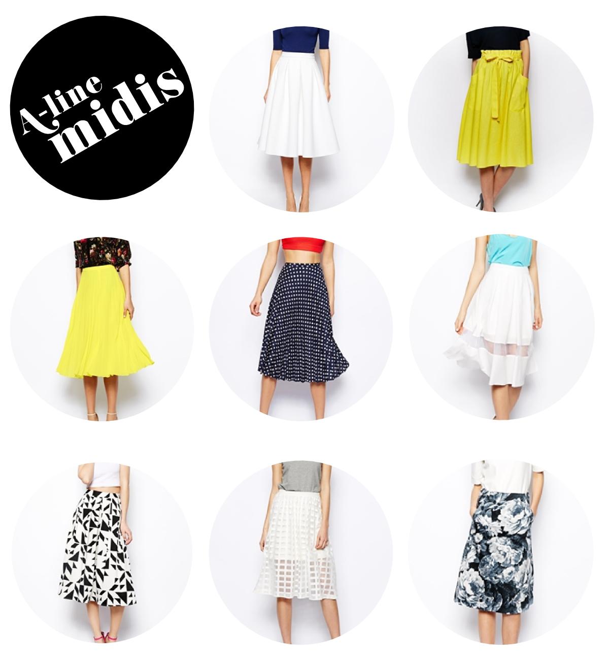 A-Line Midi Skirts