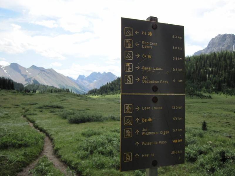 Baker Creek Trail Junction Sign just east of Baker Lake, where it ends at the Skoki Lakes Trail