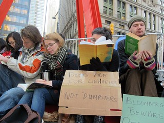 Occupy Wall Street: Day 70, Zuccotti Park, Read-in, Books Are For Libraries Not Dumpsters