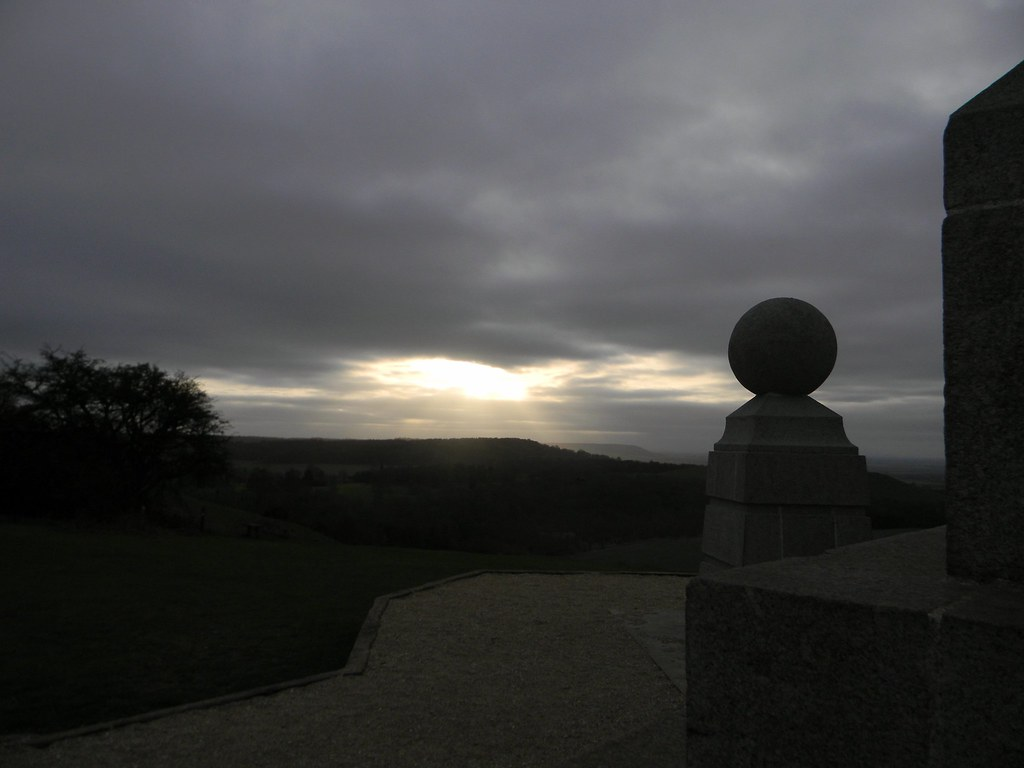 Sunlight over Chequers The chess piece is part of Coombe Monument. A bystander remarked coarsely that the sun might be shining in the other direction. Princes Risborough to Wendover