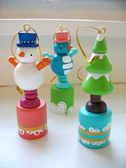 rubber band bendy push toy ornaments .. folk art by mooshoo <3