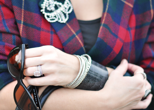 Plaid Blazer-rhinestones-sunglasses-wrist cuff-rings