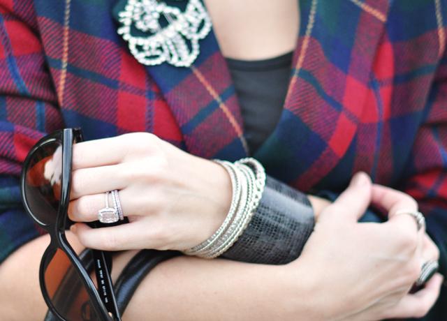 Plaid Blazer-rhinestones-sunglasses-wrist cuff-rings