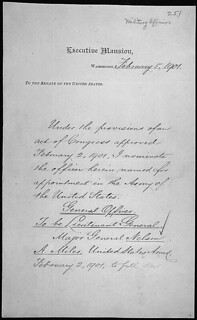 Message of President William McKinley nominating Nelson A. Miles to be Lieutenant General of the United States Army, 02/07/1901 (page 1 of 2)