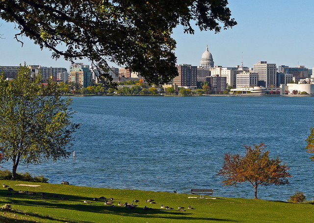 Downtown Madison Wisconsin The Capitol Lake Monona