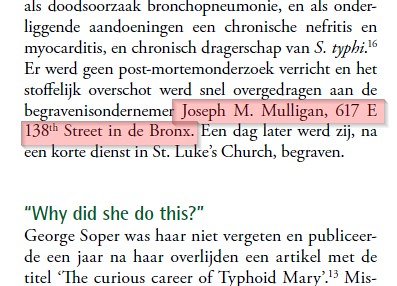 Mulligan Mention in Dutch Typhoid Mary Paper