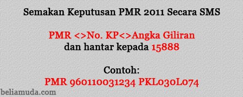 Semakan Keputusan PMR 2011 secara SMS
