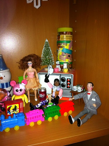 Holiday vignette: The Pee Wee's Playhouse friends playing with new toys