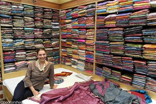 Rachel choosing fabrics