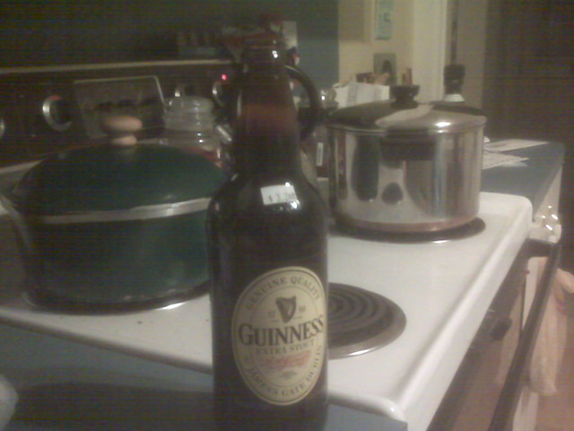 About to add the Guinness to the stew.