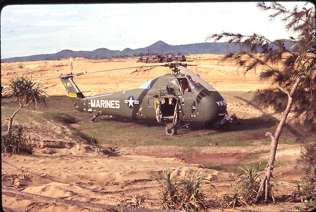 Marine H 34 Helicopter from HMM 365 on Heli Pad at Chu Lai, Viet Nam; Summer 1965
