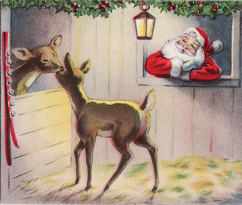 Santa in the Stable Greeting card