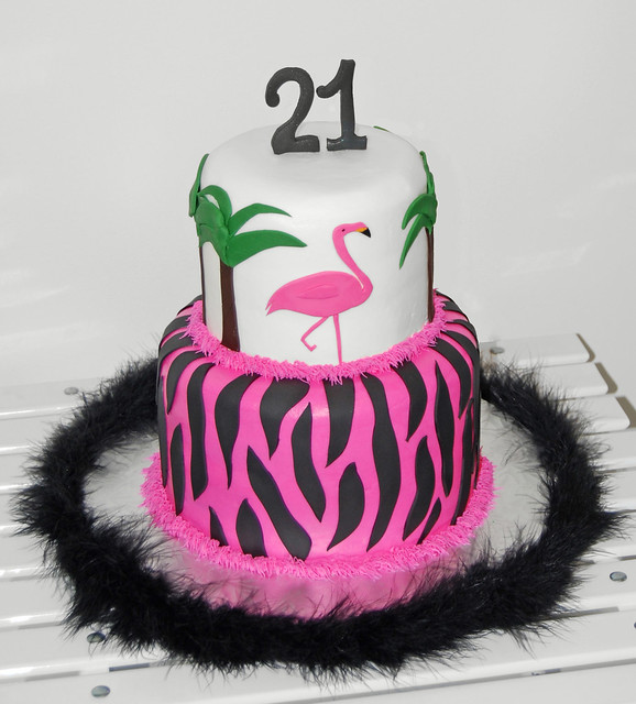 21st Birthday Zebra Print Cake With A Pink Flamingo