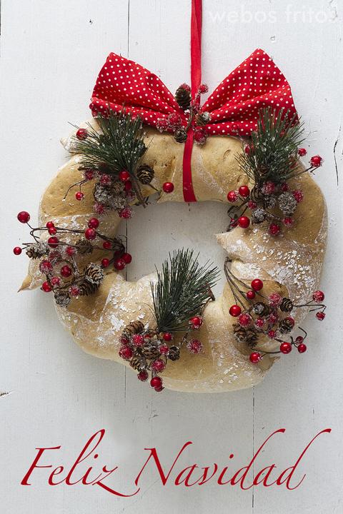 Corona de pan para Navidad