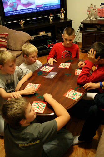 The gang playing a bit of Christmas Bingo.