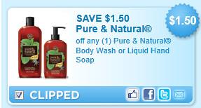 Pure & Natural Body Wash Or Liquid Hand Soap Coupon